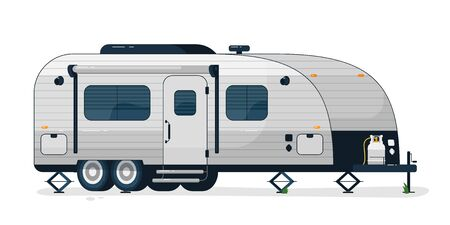 Camping trailer. Isolated camper vehicle