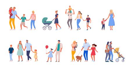 Walking family set. Happy family on walk set isolated on white background. Collection of mother, father and children spending time together. People bundle walking outdoor vector illustration