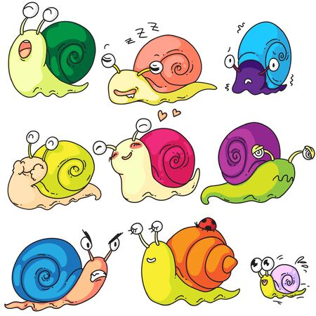 Snail set. Cute cartoon snail character and mollusk kid with shell set isolated on white background. Funny creature showing different emotion. Snail-paced slug mascot vector illustration