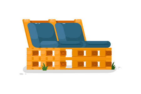 Garden bench. Isolated wooden bench with cushions