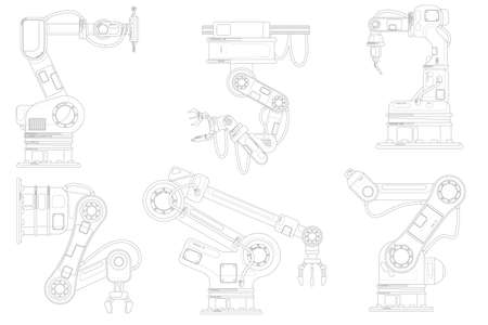 Industrial robotic arm set. Isolated robotic arm 일러스트