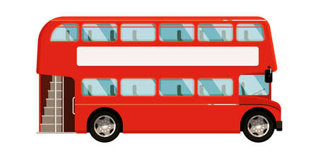 Red double-decker bus icon on white background