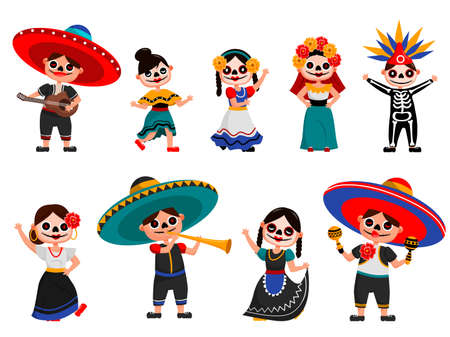Mexican skeleton party set. Isolated Mexican people cartoon characters in spooky traditional costumes dancing, playing music, celebrating day of the dead holiday. Skeleton party celebration tradition