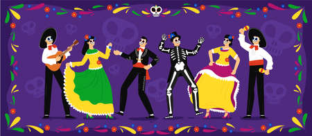 Mexican day of the dead. Skeletons party celebration tradition in floral frame. Mexican people wearing spooky traditional costumes dancing, playing music and celebrating day of the dead holiday