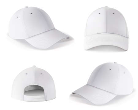 Baseball cap template. Blank white cap mockup front and back side design isolated on white background. Realistic sport snapback