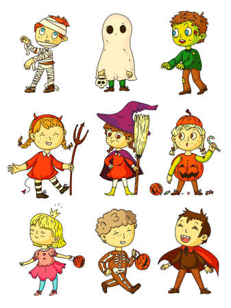 Halloween kids. Funny kids in creepy costumes set. Children wearing mummy, ghost, zombie, witch, devil, princess, skeleton, pumpkin, vampire costume for Halloween celebration, childhood play