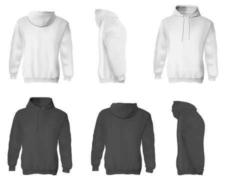 Man hoodie. Black and white blank male sweatshirts with hood template set. Front, side and back views of adult man hoodie shirts mockup collection. Casual clothing fashion mock up concept Foto de archivo