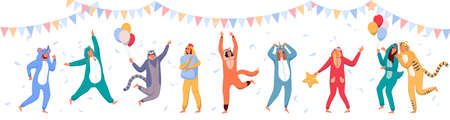 Pajama party. Happy people wearing animal costume onesies, celebrating holiday. Young men, women cartoon characters in kigurumi having fun at pajama party with garland, balloons and flying feathers