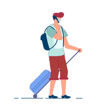 Tourist man. Traveler person in mask carrying backpack, pulling luggage wheel suitcase, talking on mobile phone during coronavirus pandemic. Man tourist passenger cartoon character, tourism