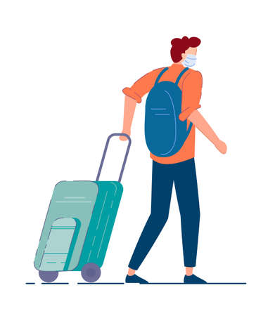 Tourist with luggage. Man tourist in mask carrying backpack, walking and pulling luggage wheel suitcase during coronavirus pandemic. Traveler passenger person cartoon character, tourism concept Imagens
