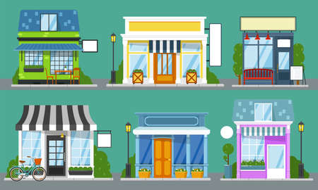 Shop front set. Isolated outdoor store facades with blank sign mockup templates. City street cute building storefronts with door, window, bench, table, lantern. Shop front empty showcase collection 免版税图像 - 151119983