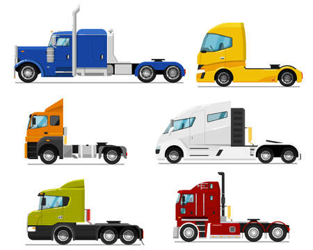 Semi truck set. Isolated traction unit rig or prime mover transport for semi-trailer hauling. Side view of tractor unit with cab icon collection. Industrial heavy truck vehicle transportation