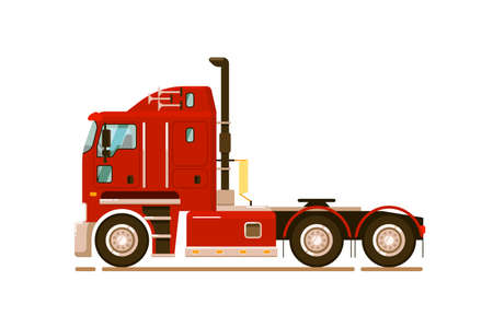 Pull tractor car. Special road truck transport isolated on white background. Long-haul trucker transport illustration. Auto pull tractor side view