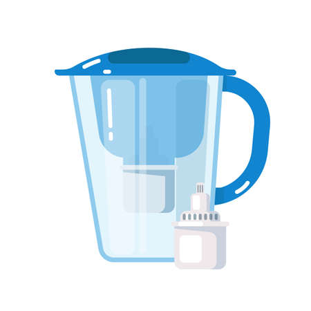 Purification system. Plastic jug with water filter mineral cartridge icon isolated on white background. Fast home purification system illustration