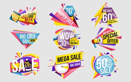 Sale offer. Discount sticker and price label set template. Modern sale banner with special offer for retail. Promotional tag super deal design with limited time offer