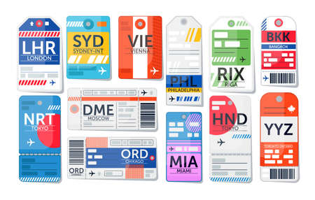 Luggage tag set. Isolated airport baggage ticket label icon collection. Travel luggage paper tags with text. Vector vacation destination concept illustration