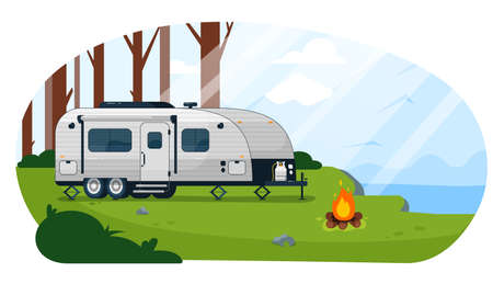 Camper trailer. Caravan camper trailer and campfire on empty campground landscape vector illustration. Camping adventure and summer vacation trip vehicle