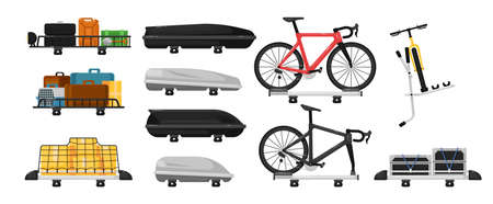 Car roof rack set. Isolated travel automobile roof storage, carrier, box, rack with baggage bags and mounted bicycles icon collection. Vector car trip transportation illustration
