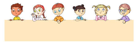 Kids portrait. Group of smart cartoon kids standing or sitting behind blank placard with place for advertisement or announcement. Scholar or preschool children portrait vector illustration.