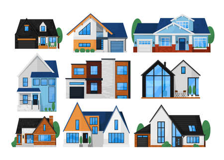 House exterior front set. Isolated residential city building icon. Modern cottage house exterior front view collection. Vector home architecture
