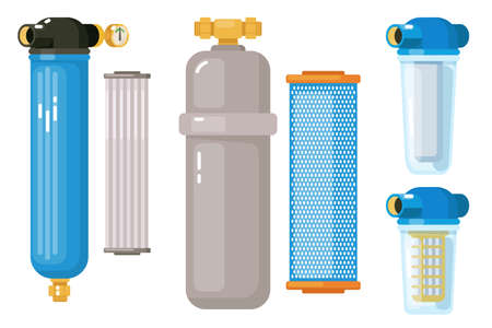 Water filtration. Home cooler and system supply for treatment water sludge tank facilities effluent. Filtration system icon vector illustration. Set isolated on white background. Vettoriali