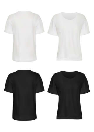 White and black t-shirt mockup set. Isolated blank male short sleeve t-shirt clothes template set. Front and back views of man t-shirts mockup collection. Vector casual fashion clothing mock up design Vektorové ilustrace
