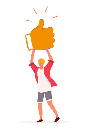 Customer feedback. Teenager boy hold thumbs-up social media sign. Casual male character standing isolated on white background. Positive customer feedback and review vector illustration
