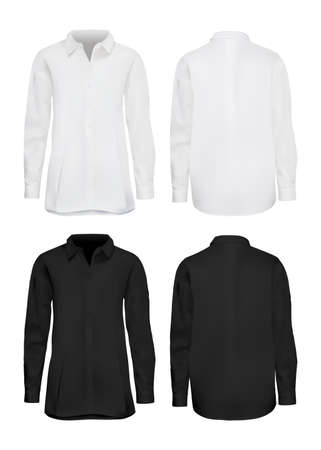 White and black shirt mockup set. Isolated blank male cotton long sleeve shirt template set. Front and back views of man shirts mockup collection. Vector formal elegant fashion clothes mock up design Banque d'images