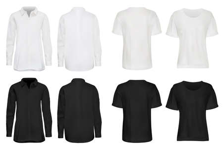 Shirt set. Realistic dark, white shirt, sweatshirt and t-shirt set isolated on light background. Vector fashionable apparel with empty place for brand design illustration. Casual wear front, back view