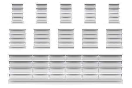Shop shelves set. Isolated empty supermarket store showcase shelve icon collection. Realistic blank white retail shop display shelves front view. Vector market and business concept Ilustrace
