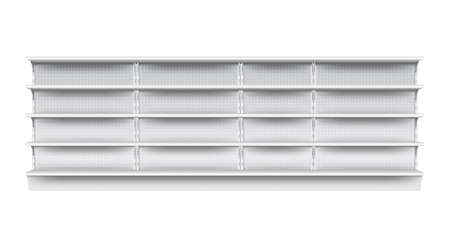 Supermarket shelf. Isolated empty supermarket store showcase shelf icon. Realistic blank grey metal retail shop display perforated shelf. Vector market and business concept