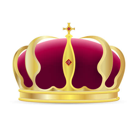 Monarch crown icon. Isolated realistic royal gold crown with red velvet, cross and ruby gems icon. Vector king or queen crown, luxury authority symbol decoration Vettoriali