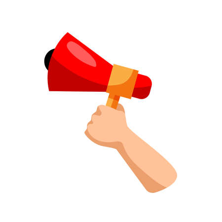 Hand with megaphone. Isolated hand holding megaphone icon. Vector loud speaker. Announcing business message, marketing, public speech and communication concept
