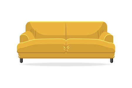 Classic sofa. Isolated comfortable yellow couch seat icon. Classic style living room sofa front view. Vector interior soft furniture design, home or lounge decoration and comfort Stock Illustratie