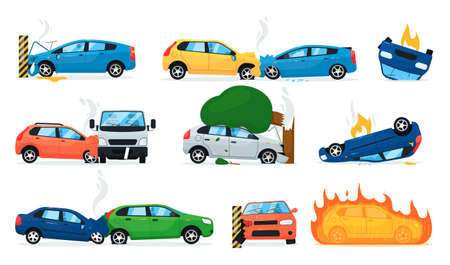 Car accident set. Isolated cartoon car crash icon collection. Transport road accident, cars collision, vehicle on fire. Vector transportation safety illustration Vecteurs