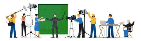 Movie production scene. Isolated film production people crew making movie. Film director man, actor person, camera operator shooting, lighting technician woman, sound designer vector illustration Vektorové ilustrace