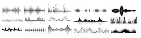 Sound waves icon set. Isolated audio sound wave icons. Black abstract pulse frequency waveform design collection on white background. Music equalizer digital technology illustration Vetores
