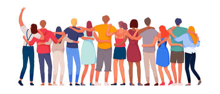 Happy people. Diverse multi-ethnic people character group hugging standing together back view. National cohesion, solidarity and unity illustration. Vektorgrafik