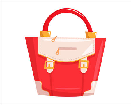Red woman handbag. Isolated female fashion accessory. Beautiful woman hand bag glamour style design with handle, buckles and zippers. Red lady handbag icon