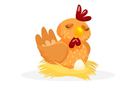 Layer chicken. Cute layer chicken hatching egg in straw nest. Creature icon isolated on white background. Farm and farming vector illustration