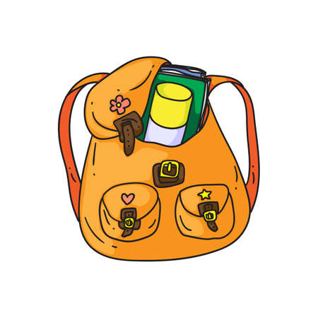 Orange backpack. Isolated cartoon school or college bag with pockets, books and straps doodle icon. Student child orange schoolbag backpack object. Vector education and study concept