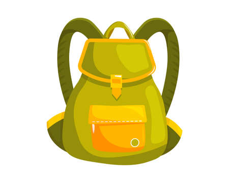 Woman backpack bag. Isolated female fashion accessory. Beautiful woman hand bag elegant style design with handle, pocket, buckle and shoulder straps. Green lady backpack handbag icon Ilustrace