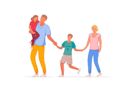 Walking family. Father, mother, son and daughter walking outside together. Family couple with children girl and boy isolated on white background. Happy people character vector illustration