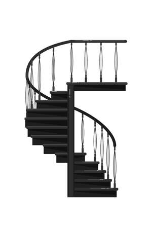 Elegant staircase. Isolated elegant staircase with railing icon. Vector interior black metal stair steps design. Architecture and climb concept