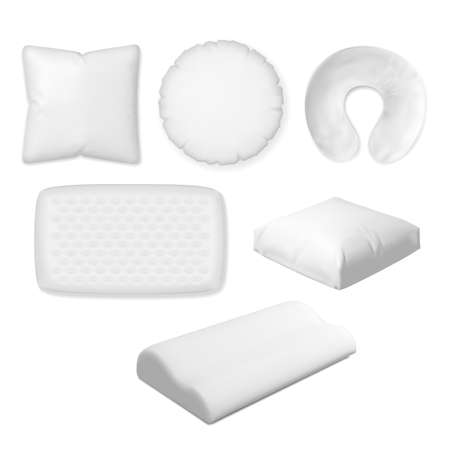 Sleep pillow. Vector textile, soft, memory foam pillow, orthopedic bedroom cushion different shape size collection. Kind of convenience for comfortable dream illustration. Accessory for sleep and rest