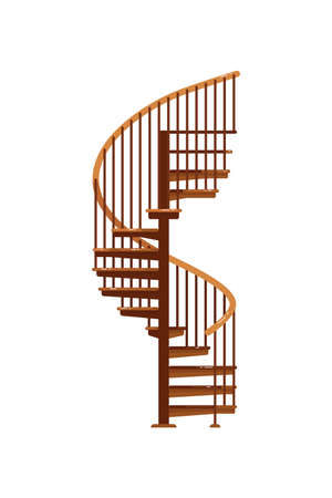 Spiral staircase. Isolated wooden staircase