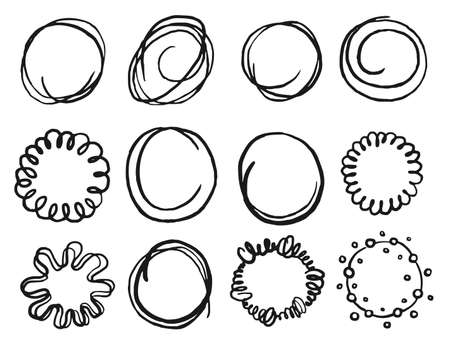 Art hand drawn scribble circle shape icon set