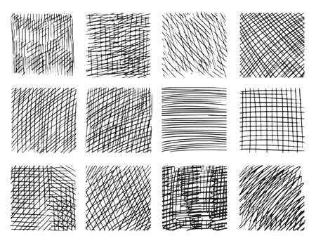 Pencil sketch hatching with criss-cross effect set