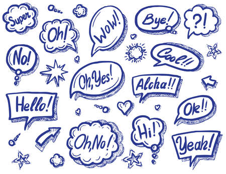 Art speech bubble with sound expression text set Ilustracja