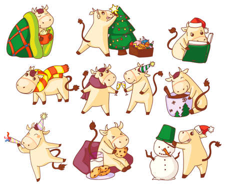 Cute bull new year character symbol icon set